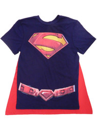 DC Comics Mens Blue Superman Caped Tee Logo Shirt
