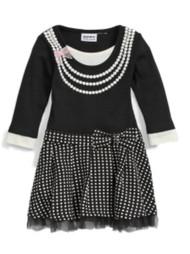 Blueberi Infant & Toddler Girls Black Polka Dots & Pearls Ruffled Dress