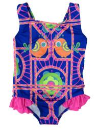 Baby Buns Toddler Girls 1 PC Multi Birdie & Flower Print Swim Suit Swimming