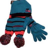 ABC Girls Turquoise Purple Pink Stripe Scarf Gloves Hat Set