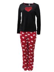 Celestial Dreams Womens Red Glitter Heart Pajamas Fleece Pajama Set