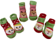 Infant Holiday Socks Reindeer Snowman Santa Slippers