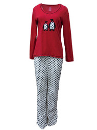 Celestial Dreams Womens Red Penguin Pajamas Fleece Polka Dot Pajama Set