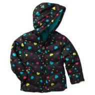 Healthtex Infant  Girls Black Hearts Winter Coat Bubble Puffer Jacket 24m
