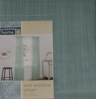 "Casual Home Sheer Blue Leno Stripe Window Panel 84"" Curtain"
