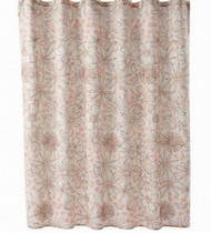 Apt 9 Pretty Peach & Brown Flower Trace Fabric Shower Curtain Floral Bath