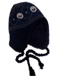 ABC Boys Blue Knit Peruvian Skeleton Trapper Hat aviator
