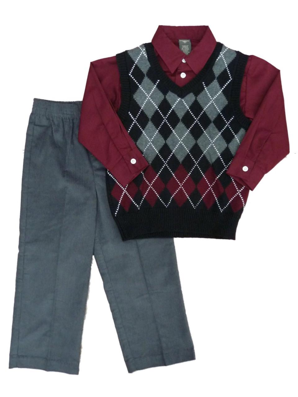 pants and shirt, Toddler Boys 3 Piece Set Dockers Sweater vest