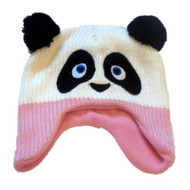Cozy Creatures Toddler Girls Knit Trapper Style Panda Bear Hat Fleece Lined