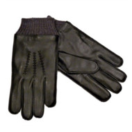 American Living Mens Sleek Black Leather Gloves Acylic Cuff & Fleece Lining