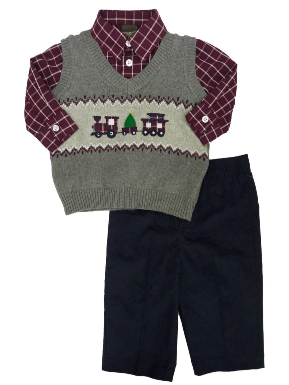 56900ac4c Dockers Infant & Toddler Boys 3P Holiday Sweater Vest Shirt & Corduroy  Pants - The Primrose Lane
