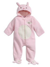 Infant Girls Plush Hot Pink Red Accent Fuzzy Pram Suit Hooded Baby Bunting