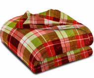 Better Homes & Gardens Velvet Plush Microfleece Red & Green Plaid Throw Blanket
