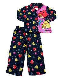 Angry Birds Girls Black Pajama Long Sleeve Top & Bottoms 2 Piece Sleep Set PJs