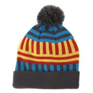 Aquarius Geormetric Blue & Red Striped Beanie Pom Pom Hat Stocking Cap
