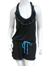 Bongo Womens Black & Blue Swim Suit Cover Up Ruffled Romper Jumpsuit