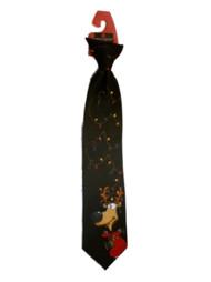 American Greetings Boys Reindeer Clip On Necktie Xmas Neck Tie Black Holiday