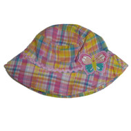 ABG Infant Girls Yellow Plaid Butterfly Sun Hat  Floppy Bucket Cap