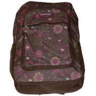 """ProSport Brown & Pink Flower 17"""" Backpack, Floral School Travel Bag"""