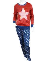 Celestial Dreams Womens Red & Blue Star Print Pajamas Fleece Pajama Set