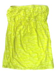 Bongo Junior Womens Yellow Swim Suit Cover Up Neon Zebra Strapless Sun Dress