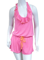 Bongo Junior Womens Pink & Orange Swim Suit Cover Up Ruffled Romper Jumpsuit