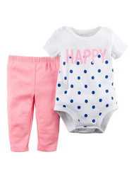 Carter Infant Girl 2 Piece White Happy Creeper Bodysuit Pink Leggings Outfit