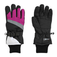 Aquarius Girls Purple & Black Thinsulate Snow & Ski Gloves Wrist Strap