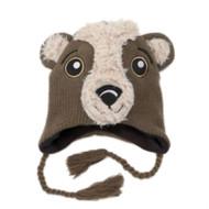 Aquarius Boys Brown Bear Peruvian Style Critter Hat Fur Fleece Lined Trapper