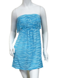 Bongo Junior Womens Blue Swim Suit Cover Up Neon Zebra Strapless Sun Dress