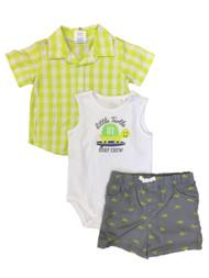 6537de3c9a7 https   d3d71ba2asa5oz.cloudfront.net 33000706 images 2lwlittletutle060718. Infant  Boys 3 Piece Baby Outfit Plaid Shirt Shorts   Surfing Turtle Bodysuit ...