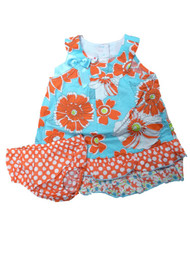 Ashley Ann Infant Girls Turquoise Blue Orange Flower Ruffled Dress Sun Dress
