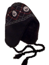 ABC Boys Black Knit Peruvian Skeleton Trapper Hat aviator