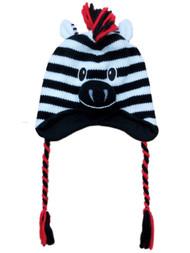 Aquarius Boys Black Zebra Critter Style Peruvian Hat