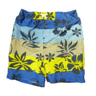 Baby Buns Infant & Toddler Boys Blue Striped Floral Swim Trunks Board Shorts