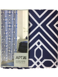 Apt 9 Blueprint Geo Fabric Shower Curtain Pretty Blue Geometric Bath