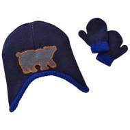Toby Infant Boys Reversible Blue Cammo Polar Bear Trapper Hat & Mittens Set
