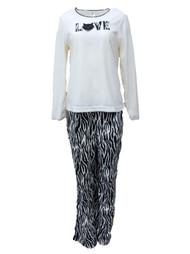 Celestial Dreams Womens Zebra Print Kitty Cat Love Pajamas Fleece Pajama Set