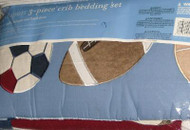 3 Piece Crib Baby Bedding Set Sports Quilt Bumper Sheet