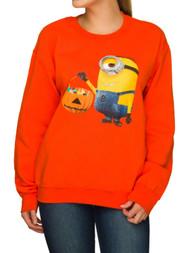 Despicable Me Junior Womens Orange Minion Candy Halloween Sweatshirt Top