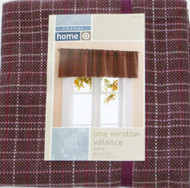 Casual Home Burgundy Tweed  Window Valance Curtain Topper