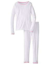 Cuddl Duds Girl White Chill Chaser Thermal Underwear  Base Layer