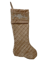 Better Homes & Gardens Quilted Gold Satin Christmas Stocking