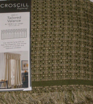 Croscill Home Spruce Green Tweed Tailored Window Valance Briana Curtain Topper