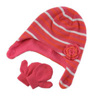 Baby Kisses Infant Toddler Girls Striped Pink Orange Trapper Hat Mittens