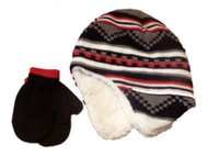 Faded Glory Toddler Boys Striped Red & Black Trapper Hat & Mittens Beanie Set