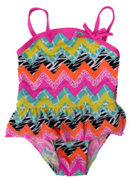 Baby Buns Infant & Toddler Girls 1 PC Mulit ZigZag Tutu Swim Suit Swimming