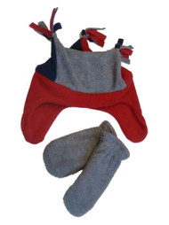 Faded Glory Toddler Boys Blue Gray & Red Fleece Trapper Hat & Mittens Set Joker