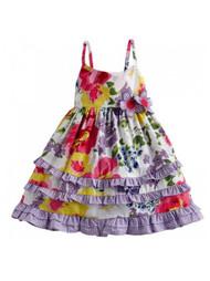 Blueberi Infant Girls Purple Flower Gingham Dress Sun Dress