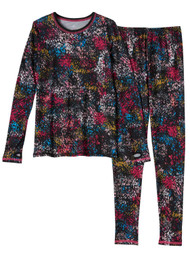 Cuddl Duds Chill Chasers Girls Black Speckle Thermal Underwear Base Layer Set